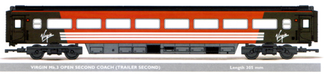 Virgin Mk.3 Open Second Coach (Trailer Second)