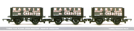 Martin Crediton 5 Plank Open Wagon - Three Wagon Set