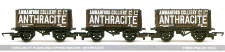 Anthracite 8 Plank End Tipping Wagon - Three Wagon Set