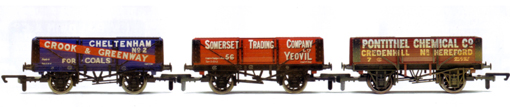 Crook & Greenway, Somerset Trading Company and Pontithel Chemical Co Open Wagons - Three Wagon Pack (Weathered)