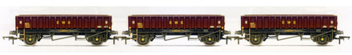 EWS 2 Axle Coalfish Box Open Wagons (MHA) - Three Wagon Pack (Weathered)